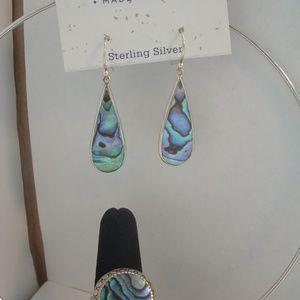 Annika Witt Made in Bali Paua Shell Earrings Ring